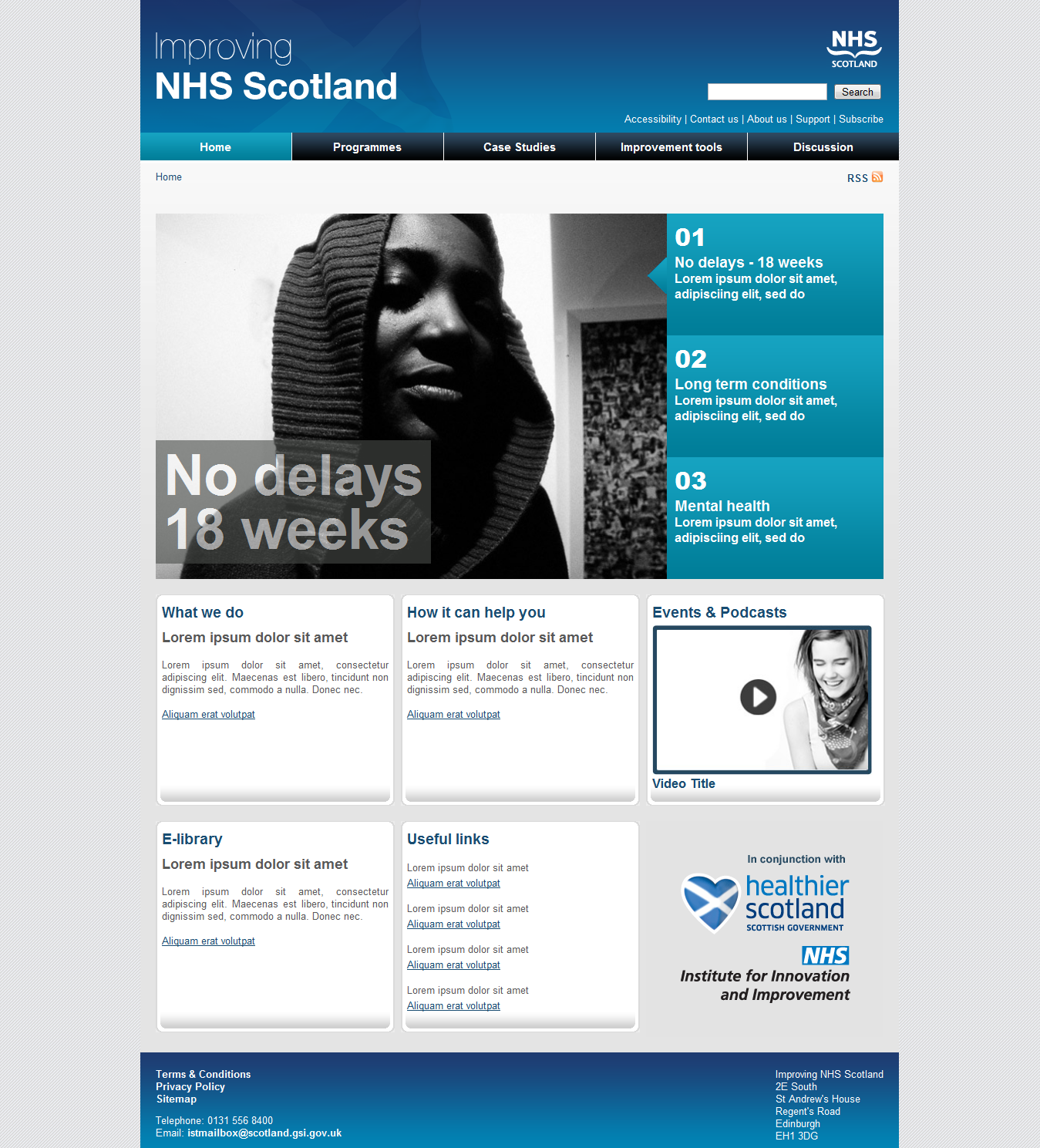 Improving NHS Scotland Homepage Template