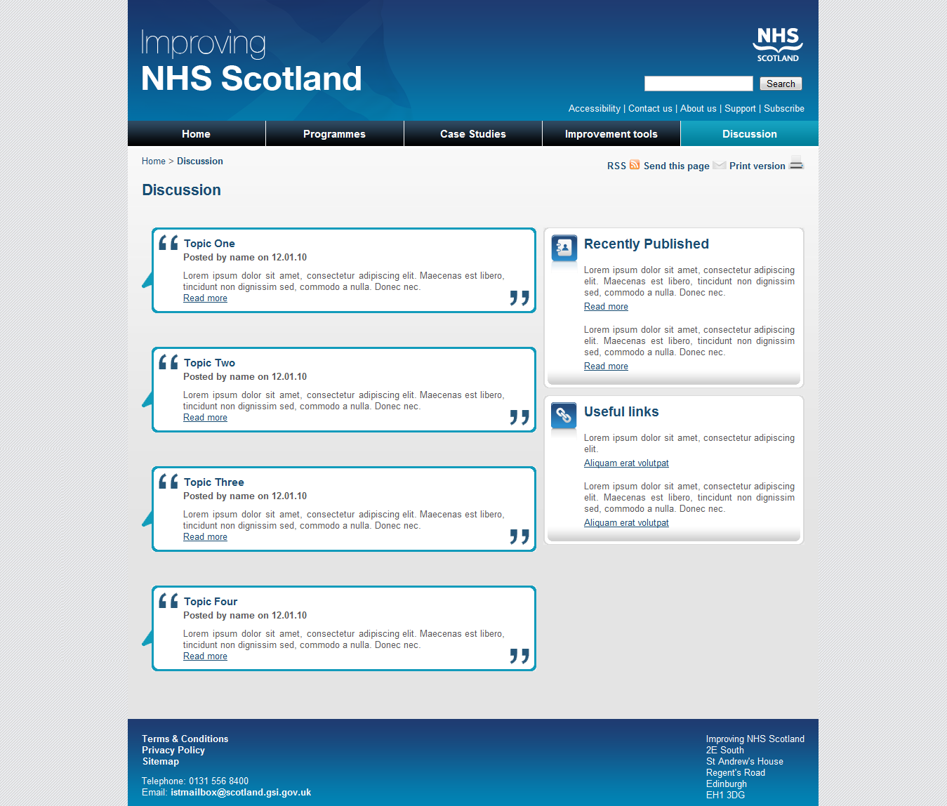 Improving NHS Scotland Discussions Template
